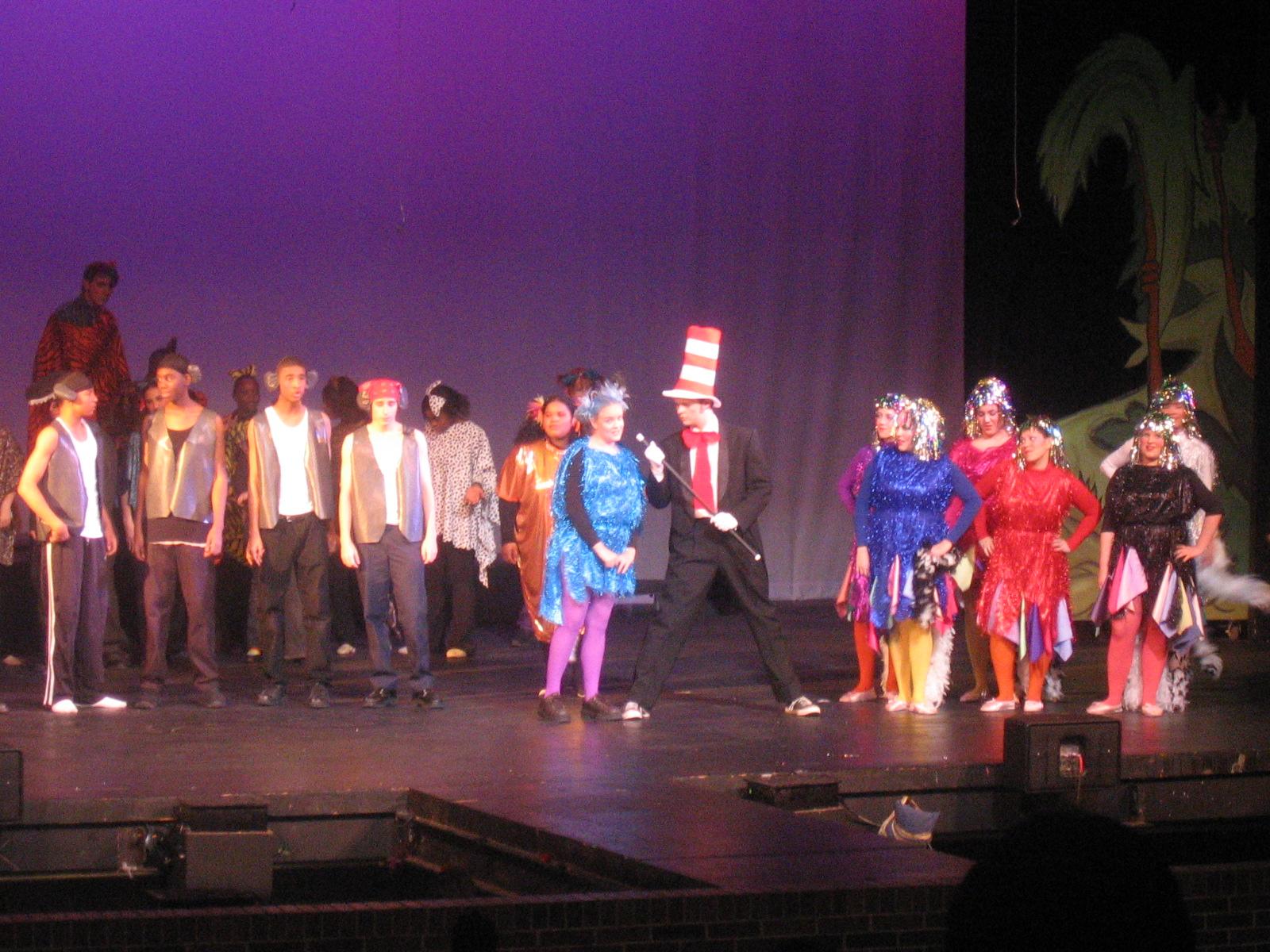 Cat in the Hat (Nolan Buck), Gertrude (Jaclyn Boskamp), bird girls, and the Wickershams